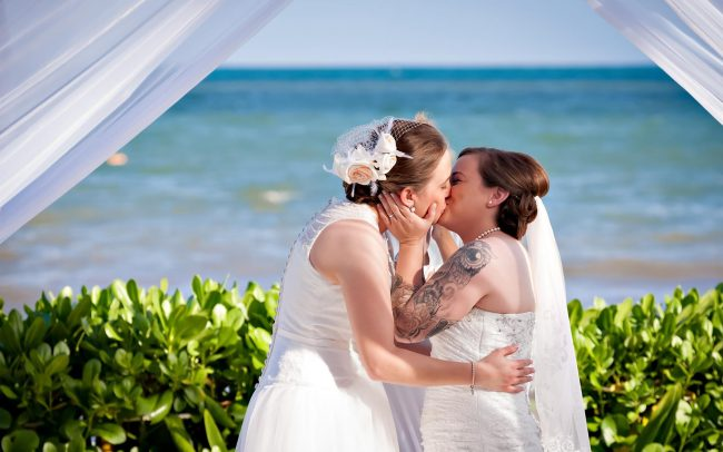 Shari & Catherine's Lipstick Lesbian Wedding at Bluebay Grand Esmeralda