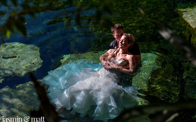 Amber & Terrance's Serene Trash the Dress Photo Session at Cenote Azul