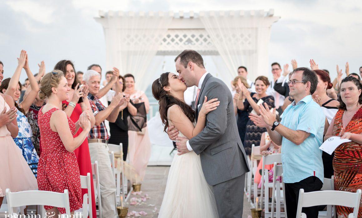 Sarah & Jonathan's Romantic, Sunset Rooftop Ceremony At Azul Sensatori