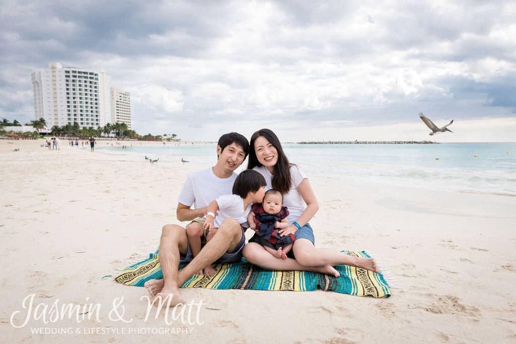 Iimura Family - Playa Gaviota Azul Cancun Family Photography